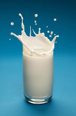 vaso de leche: Presentación de la leche en el vidrio con gotas separadas. fondo azul.