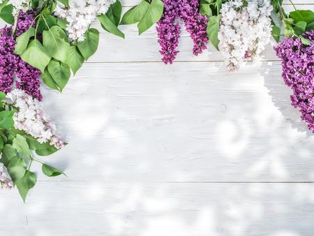 marco madera: Blooming flores de color lila en la vieja mesa de madera. Foto de archivo