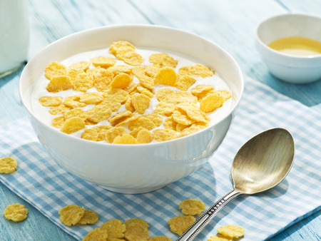 cornflakes: Cornflakes cereal and milk. Morning breakfast.