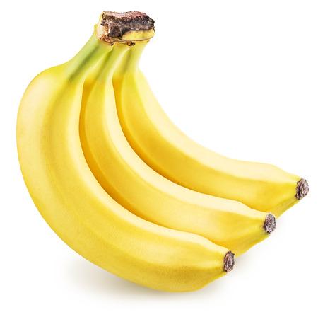 흰색 배경에 고립 된 바나나. 사진은 높은 품질입니다. 클리핑 패스.