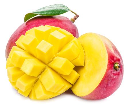 mango leaf: Mango fruit and mango cubes. The picture of high quality. Mango fruit and mango cubes on the white background. Stock Photo