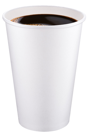 clipping: White plastic cup of coffee. File contains clipping paths. Stock Photo
