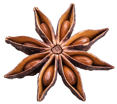 objects with clipping paths: Anise star with seeds in it. File is of high quality and contains clipping paths. Stock Photo