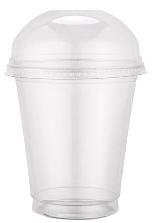 모자와 흰색 플라스틱 컵. 파일 경로 패스를 포함합니다.