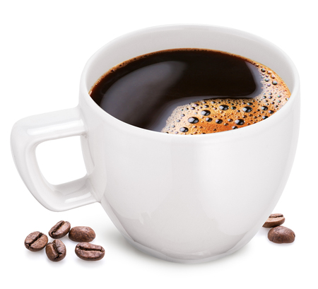Cup of coffee on a white background. File contains one cups work path. Imagens