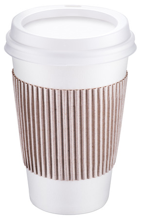 clipping: White plastic cup with cap. File contains clipping paths. Stock Photo