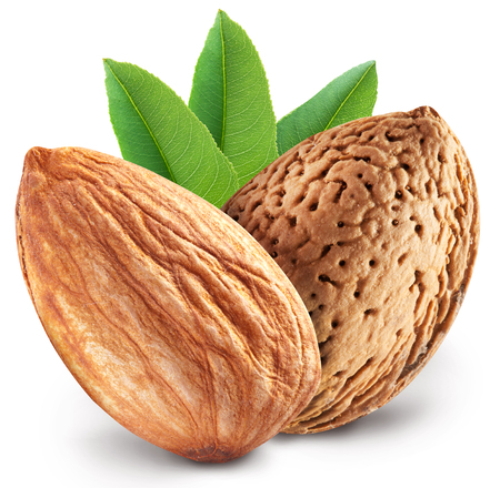 Almond nuts with leaves. File contains clipping paths. Stok Fotoğraf