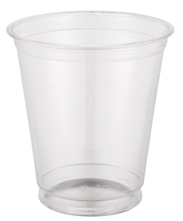 plastic cup: Empty plastic cup.