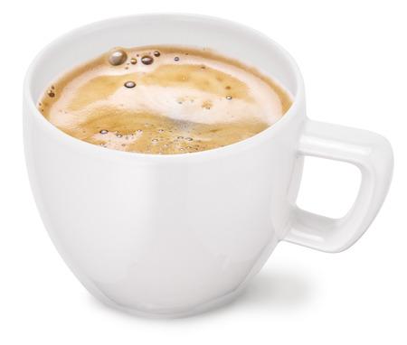 capuchino: Taza de café en un fondo blanco.