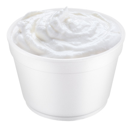 polystyrene: Sour cream in the polystyrene cup.