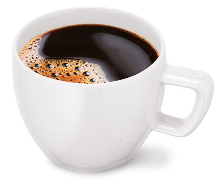 Cup of coffee on a white background.