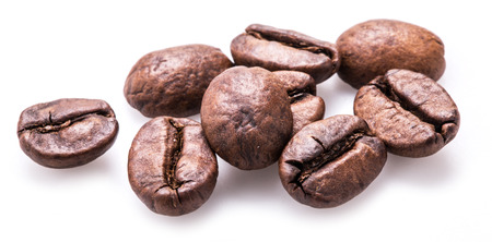 decaffeinated: Coffee beans on a white background.