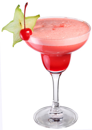 cosmopolitan: Cosmopolitan cocktail decorated with starfruit and cherry. Stock Photo