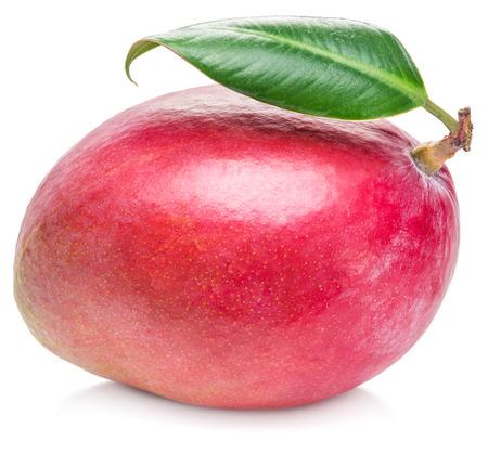 mango: Owoce mango z liści samodzielnie na białym tle. Obraz wysokiej jakości.