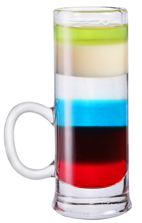 shot glass: Colorful alcohol cocktail in shot glass.  Stock Photo
