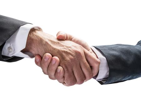 isolated man: Handshake. Closeup shot of hands.  Stock Photo