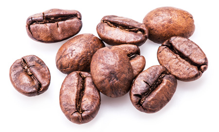 coffee beans: Roasted coffee beans on a white background.