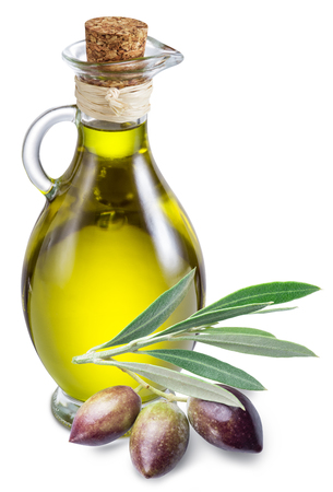 aromas: Bottle of olive oil and berries on a white background.  Stock Photo