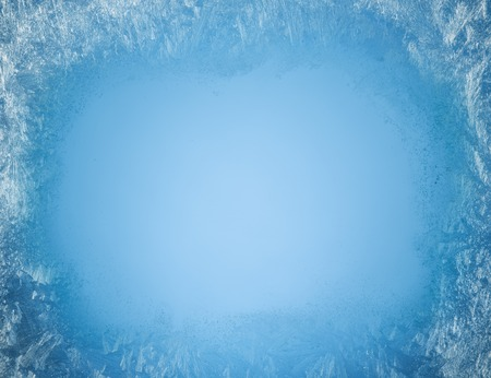 window view: Frosty patterns on the edge of a frozen window.