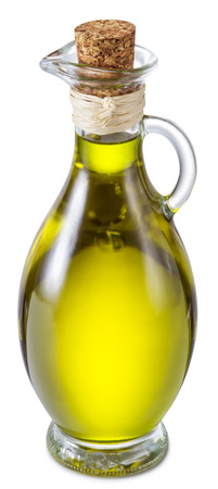 extra virgin: Bottle of extra virgin olive oil on a white background.