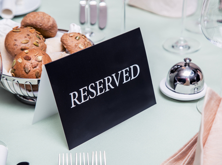 reserved sign: Festival dinner setting and Reserved sign.