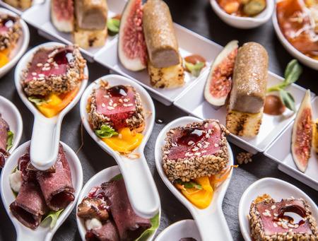 venison: Gourmet appetizers: foie gras, venison, tuna and salmon.