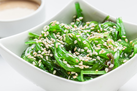 Wakame salad with sesame. Traditional japanese food.