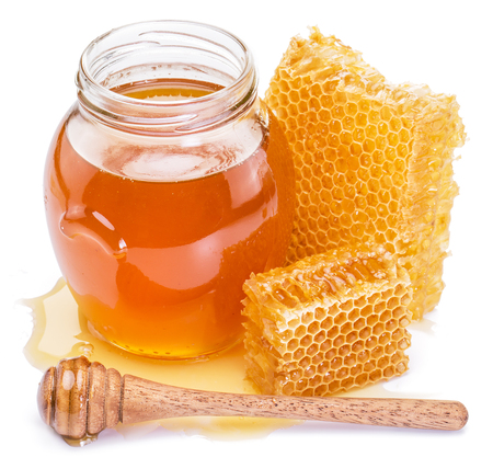 white background: Honeycomb and pot of fresh honey. High-quality picture contains clipping paths.