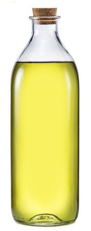carafe: Bottle of extra virgin olive oil on a white background. File contains clipping paths. Stock Photo