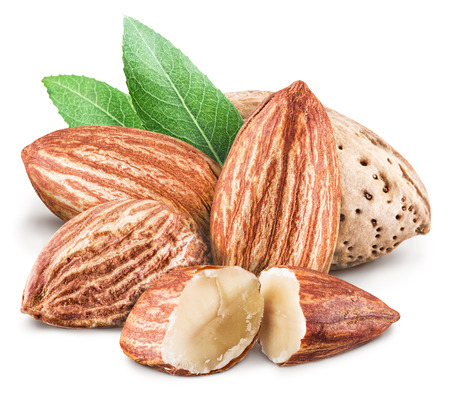 contains: Almond nuts. File contains clipping paths. Stock Photo