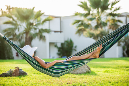 quiet: Relaxing in the hammock. Summer day.