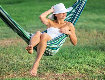 relaxing beach: Relaxing in the hammock. Summer day.