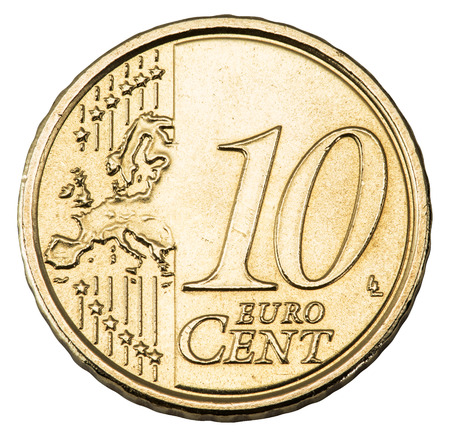 cents: Old 10 cents euro coin isolated on a white background. File contains clipping paths.