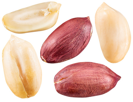 peeled: Peeled and opened peanuts.