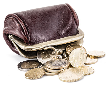it is isolated: Small leather purse for coins and coins near it. Isolated on white background.