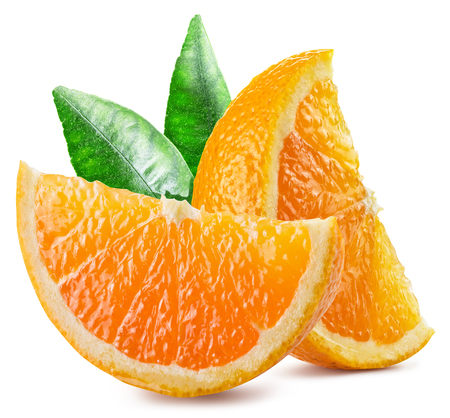 orange fruit: Two segments of orange fruit with leaves.