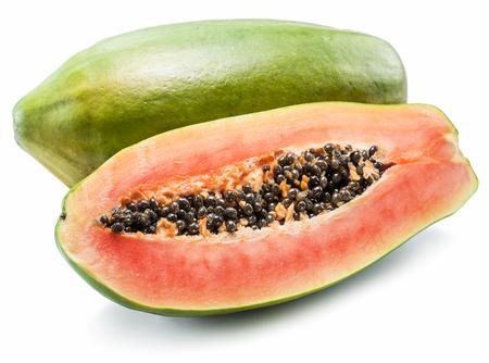 papaya: Papaya fruit isolated on a white background.