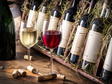 wine testing: Wine bottles on the wooden shelf. Stock Photo