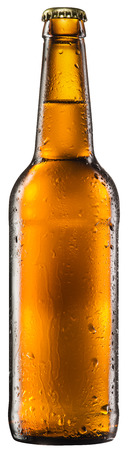 beer bottle: Bottle of beer on white background. Stock Photo
