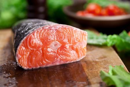 fresh fish: Fresh salmon. Cooking process.