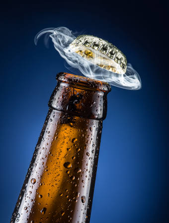 condensate: Opening of beer cap with the gas output.