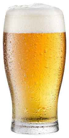 frosty: Glass of cold beer on a white background.