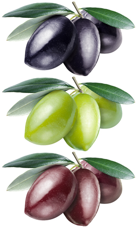 kalamata: Green, black and kalamata olives with leaves on a white background. Stock Photo