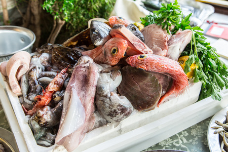 gilt head: Fresh fish and other seafood. Stock Photo