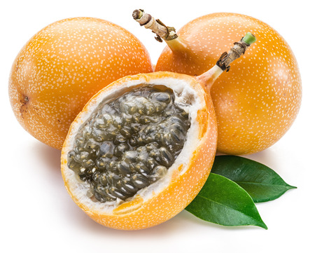 food plant: Granadilla fruits on the white background.