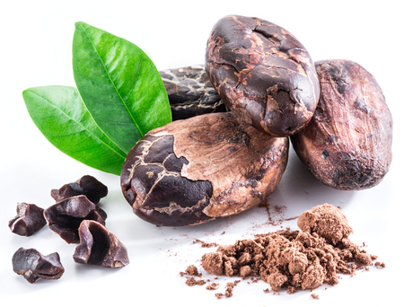 frijoles: granos de cacao aislados en un fondo blanco.