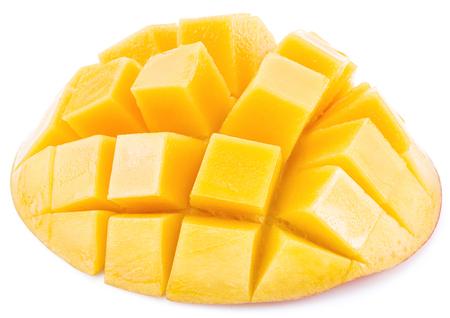 drupe: Mango cubes. Isolated on a white background.