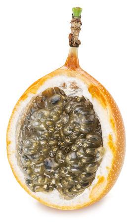 sweet pulp: Granadilla fruit on the white background.