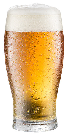pint: Glass of cold beer on a white background.