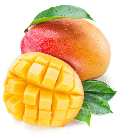 drupe: Mango cubes and mango fruit. Isolated on a white background. Stock Photo